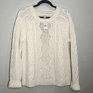 NWT J Crew white sweater, size L